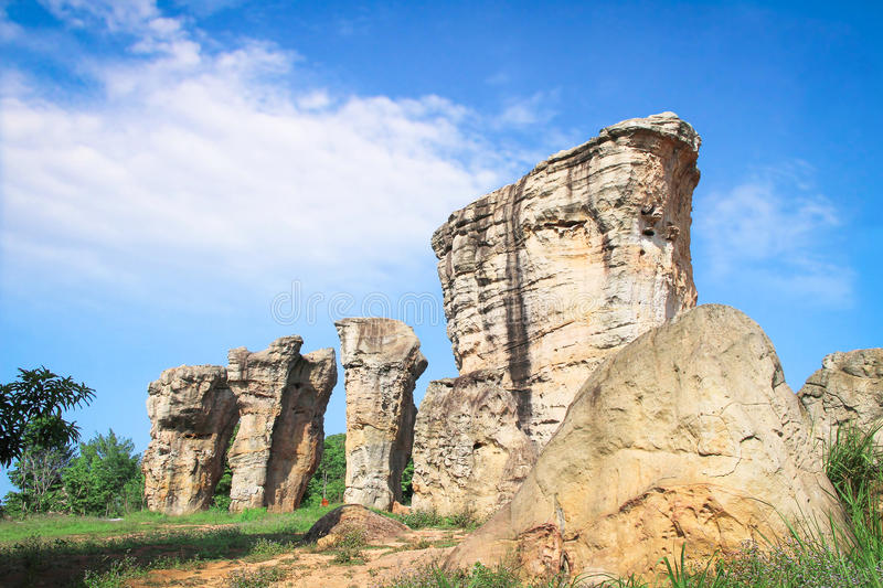Stonehenge of Thailand, Mor Hin Khao at Chaiyaphum province Thai. Land on cloudy day stock photography