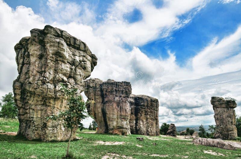 I can hear the mystery. Stonehenge of Thailand Mor Hin khao landmark at Chaiyaphum province Thailand royalty free stock photos