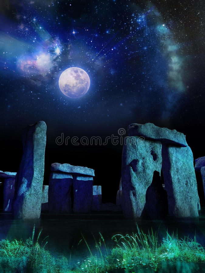 Stonehenge under Moon. Stonehenge under the Moon and stars. Studies say that the stone placements could have an astronomical role royalty free illustration