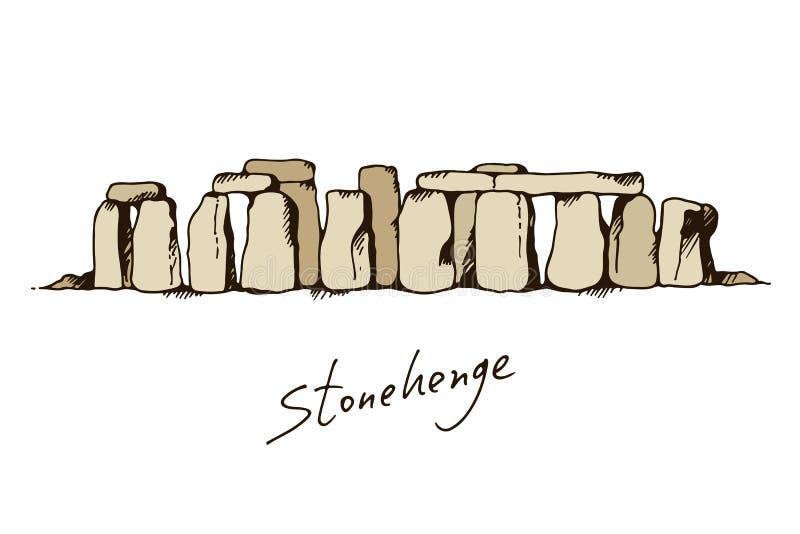 Stonehenge in Wiltshire, England color illustration. Landmark drawing sketch royalty free illustration