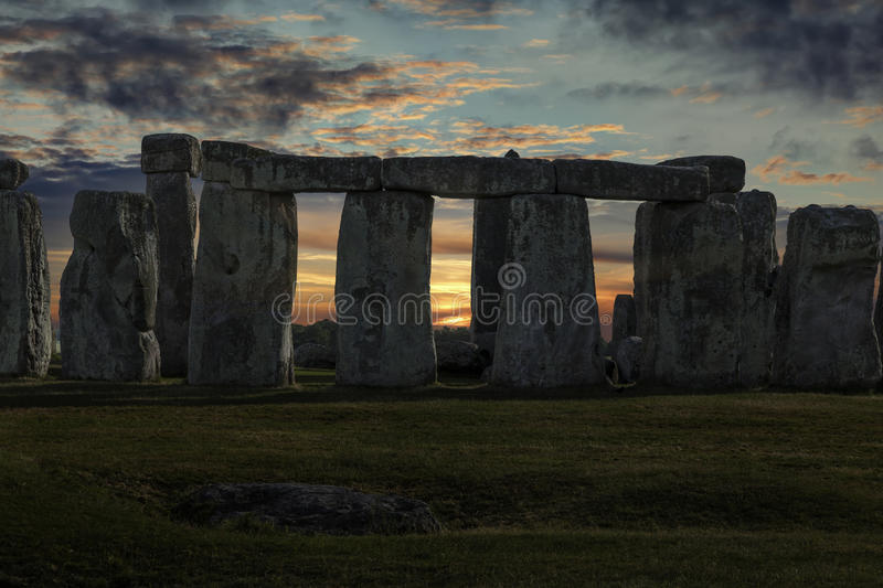 Stonehenge Winter Solstice. Close up of Stonehenge with winter solstice sunset (simulated), no people stock images