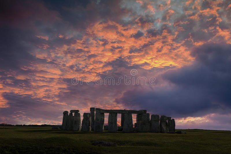Stonehenge Winter Solstice. Stonehenge with winter solstice sunset (simulated), no people stock image