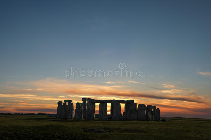 Stonehenge Winter Solstice. Stonehenge with winter solstice sunset (simulated), no people stock photography