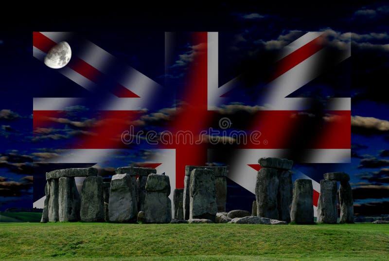 Stonehenge y Union Jack es la bandera del Reino Unido, no de Inglaterra fotos de archivo