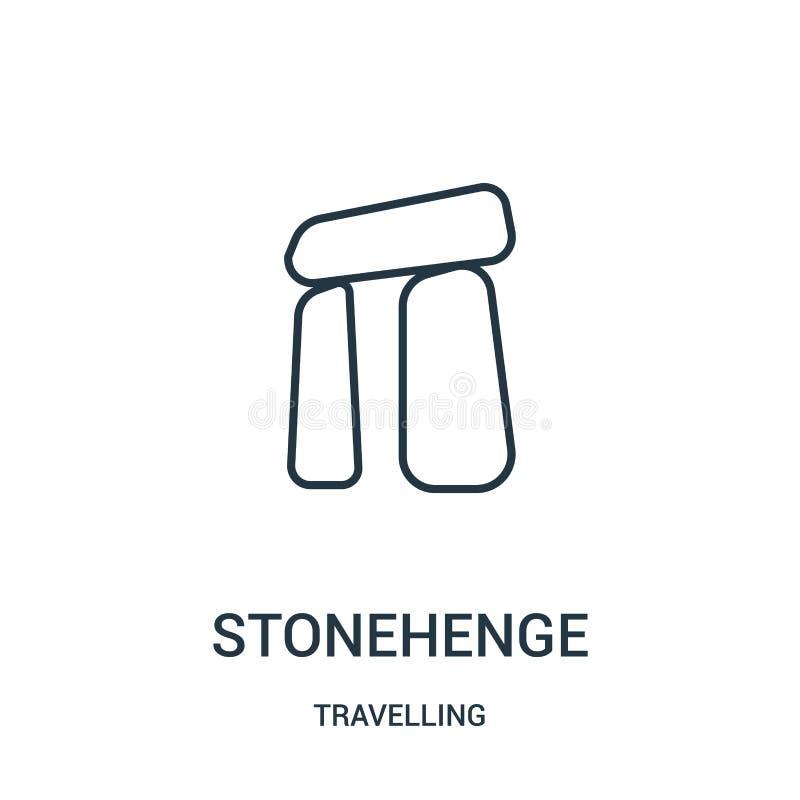 stonehengesymbolsvektor från att resa samlingen Tunn linje illustration för vektor för stonehengeöversiktssymbol Linj?rt symbol royaltyfri illustrationer