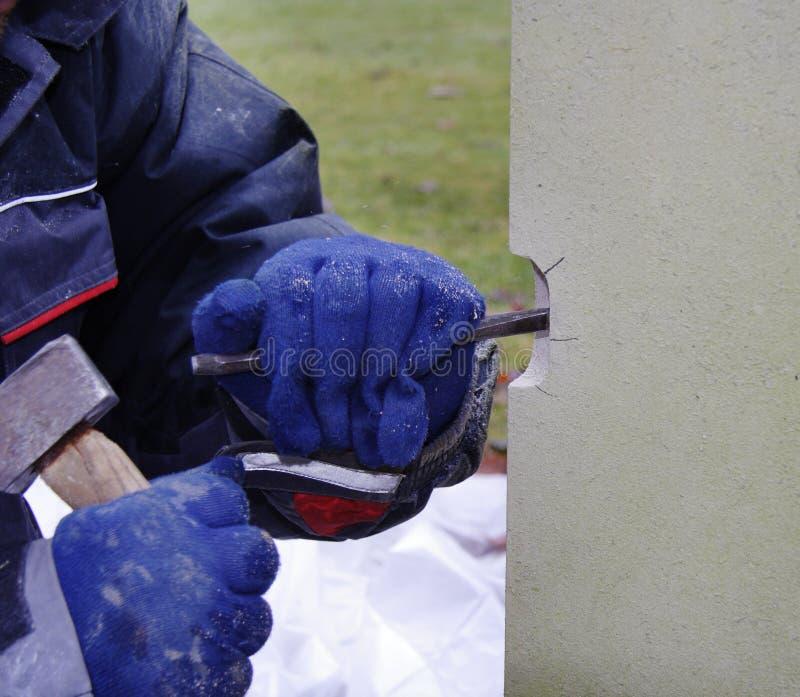 Stonemason at Work stock photo