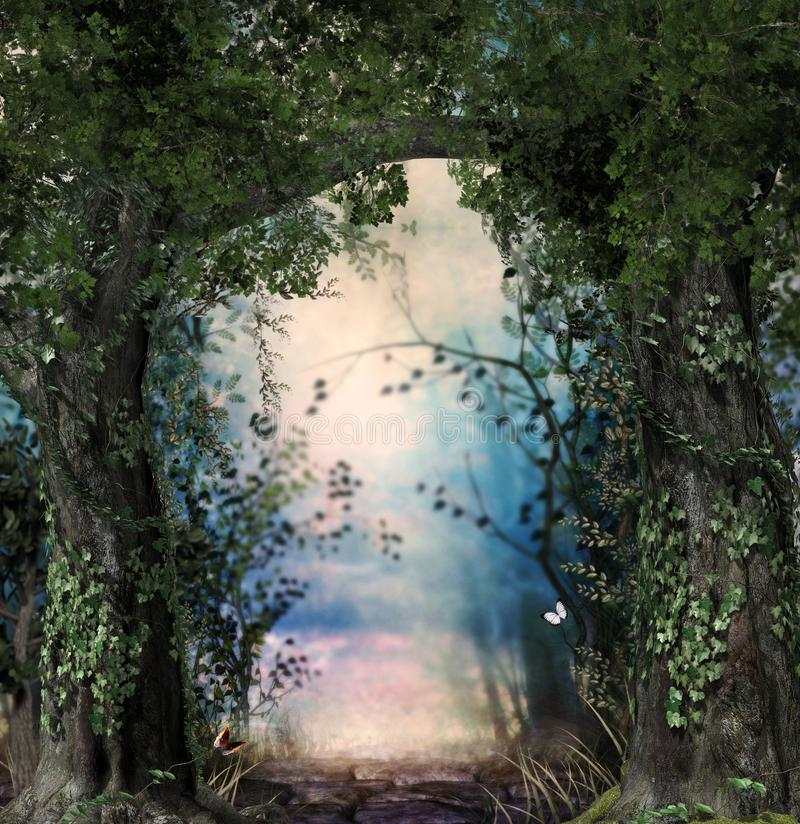 Stonepath through a magical lush forest. Flanked by ivy covered trees, 3d render stock images