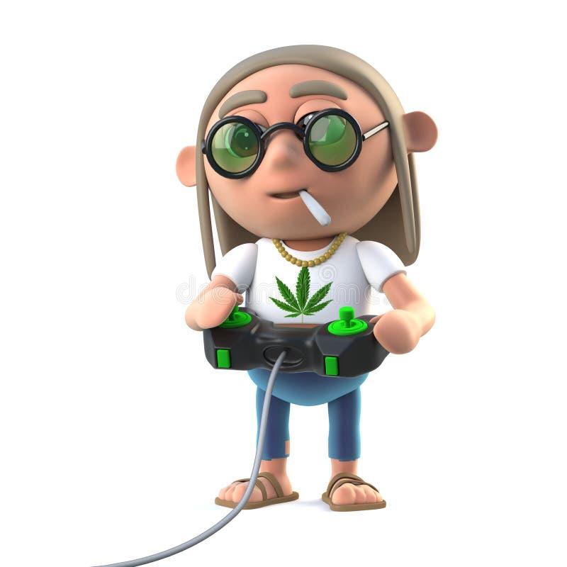 stoner för hippie som 3d spelar en videospel royaltyfri illustrationer