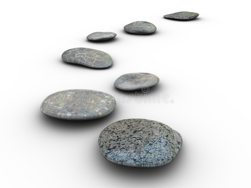 Stones aligned 1. Isolated aligned stones on a white background. Made in 3d vector illustration