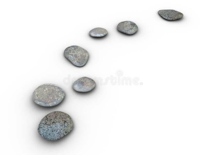 Stones aligned 2. Isolated aligned stones on a white background. Made in 3d stock illustration