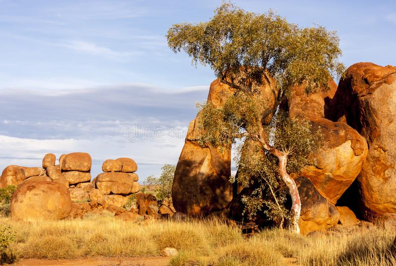 Stones in Australian outback. Devils Marbles Karlu Karlu Conservation Reserve, Northern Territory, Australia. Desert landscape stock photos