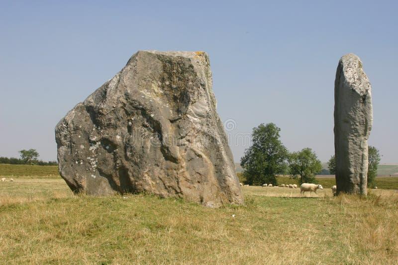 Avebury Stone Circle. Standing stones at the Avebury stone circle in Wiltshire stock image