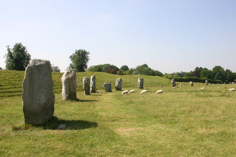 Avebury Stone Circle. Standing stones at the Avebury stone circle in Wiltshire stock images