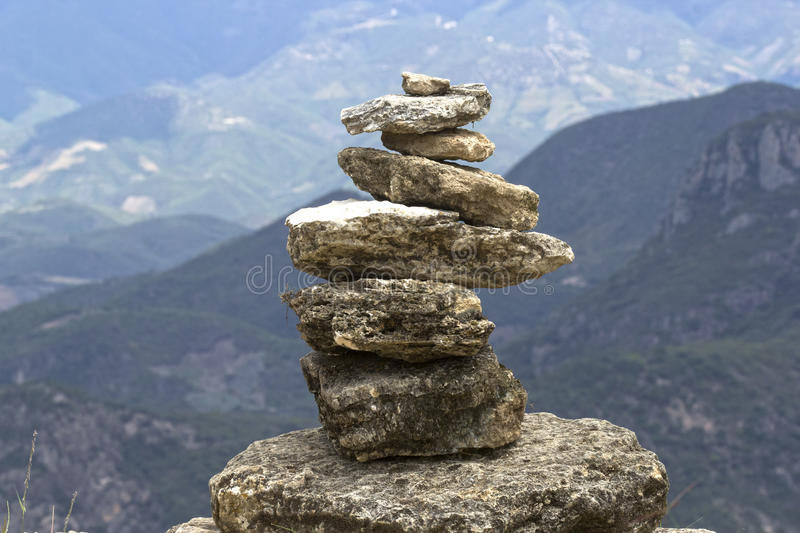 Stones in balance. At Hierve El Agua in the state of Oaxaca, Mexico royalty free stock photo