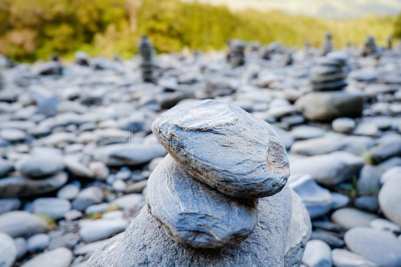 Stones balance and wellness retro spa concept, peaceful and unique inspiration, zen-like and well being tranquil composition royalty free stock images