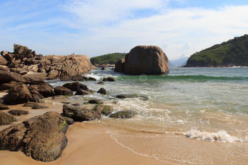 Stones of beach Piratininga Niteroi, Rio de Janeiro. Brazil royalty free stock images