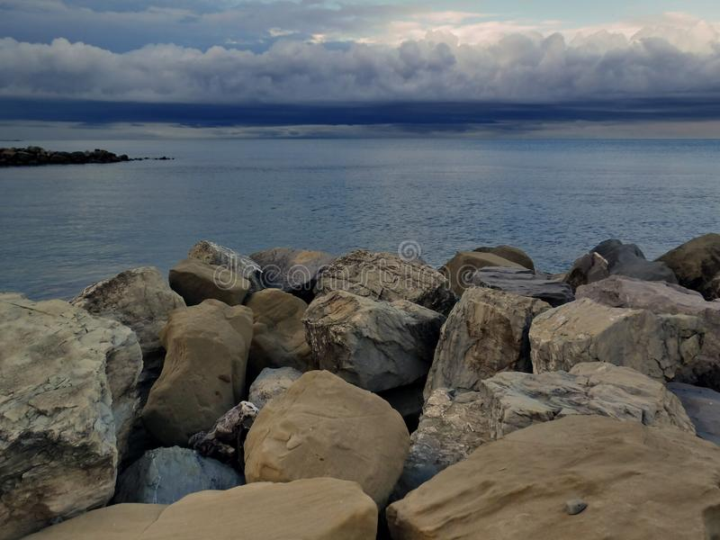 On the Black Sea coast before a thunderstorm. royalty free stock images