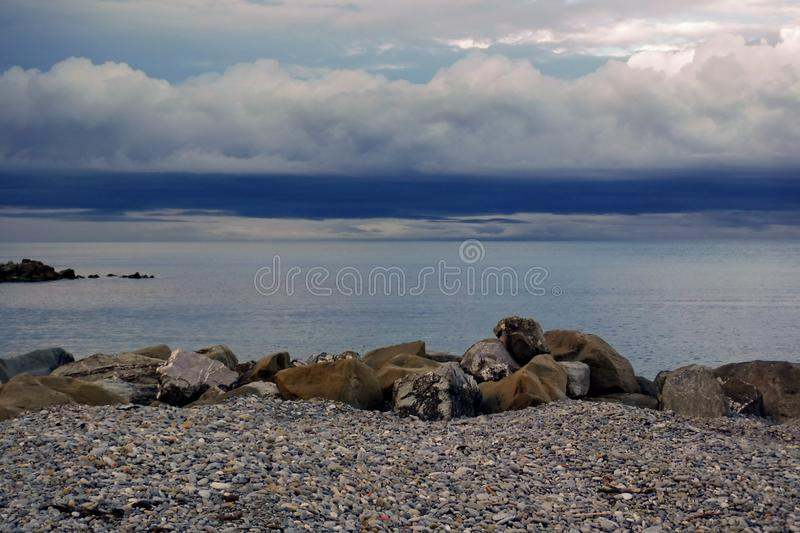 On the Black Sea coast before a thunderstorm. royalty free stock image