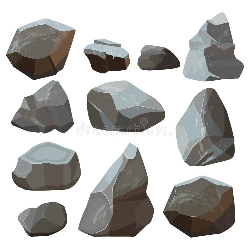 Stones cartoon. Rock mountains flagstone rocky vector illustrations isolated on white background royalty free illustration