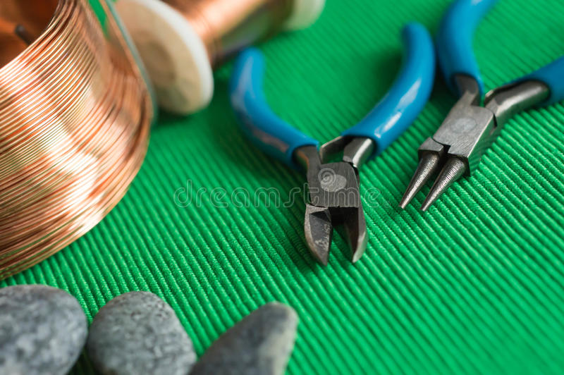 Stones, Copper Wire And Tools Stock Photo - Image of handwork, hank ...