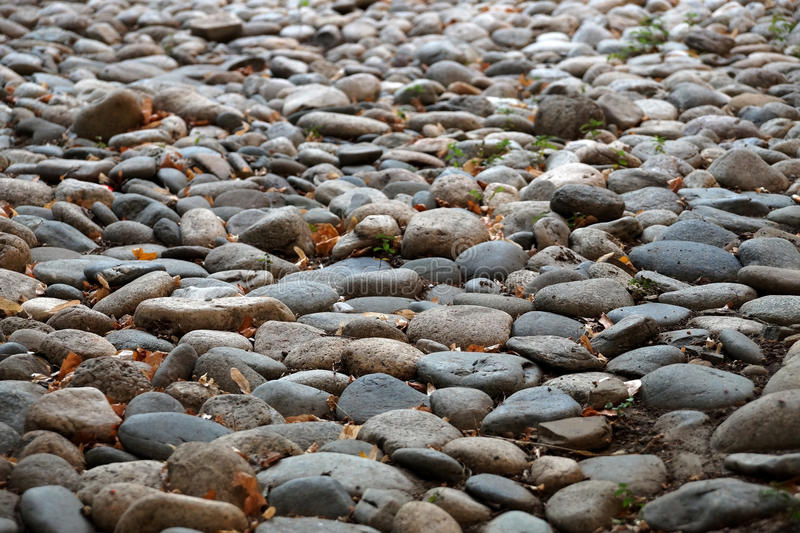 Stones. Decorative calculation from sea stones on the city street royalty free stock images