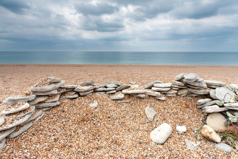 Download Stones on an Empty Beach stock photo. Image of dorset - 15038060