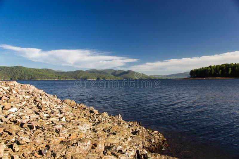 Stones on the Enisey river. Krasnoyarsk Russian Federation royalty free stock images