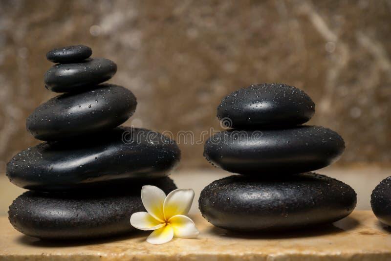 Stones&frangipani 免版税库存图片