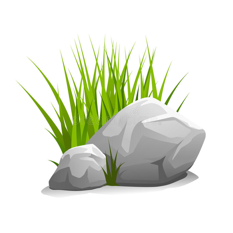 Stones with grass. Composition of two stones and green grass, illustration isolated on white vector illustration