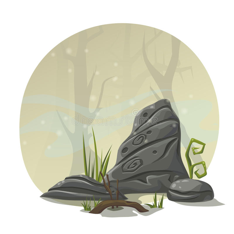 Stones, grass and roots for computer game location swamp vector illustration