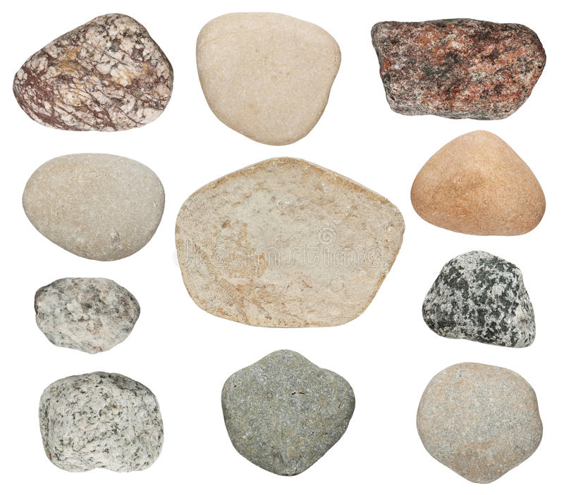 Stones are isolated on a white background stock photo