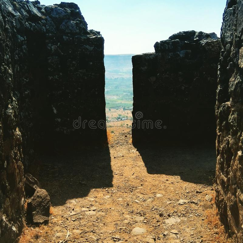 Stones of Malhar Gadh Fort in India stock photo