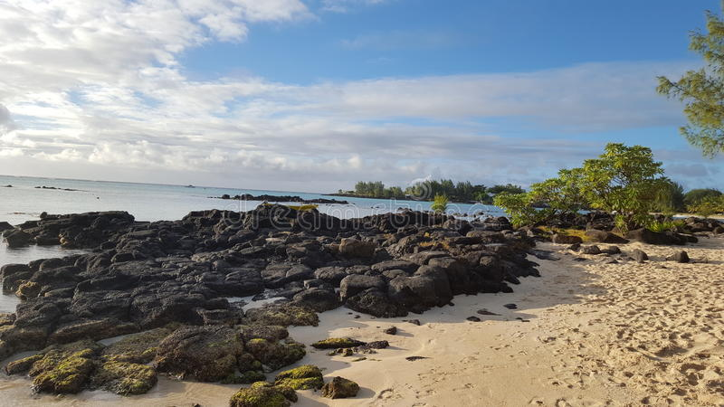 Stones Mauritius Maurice island ocean holidays stock photography