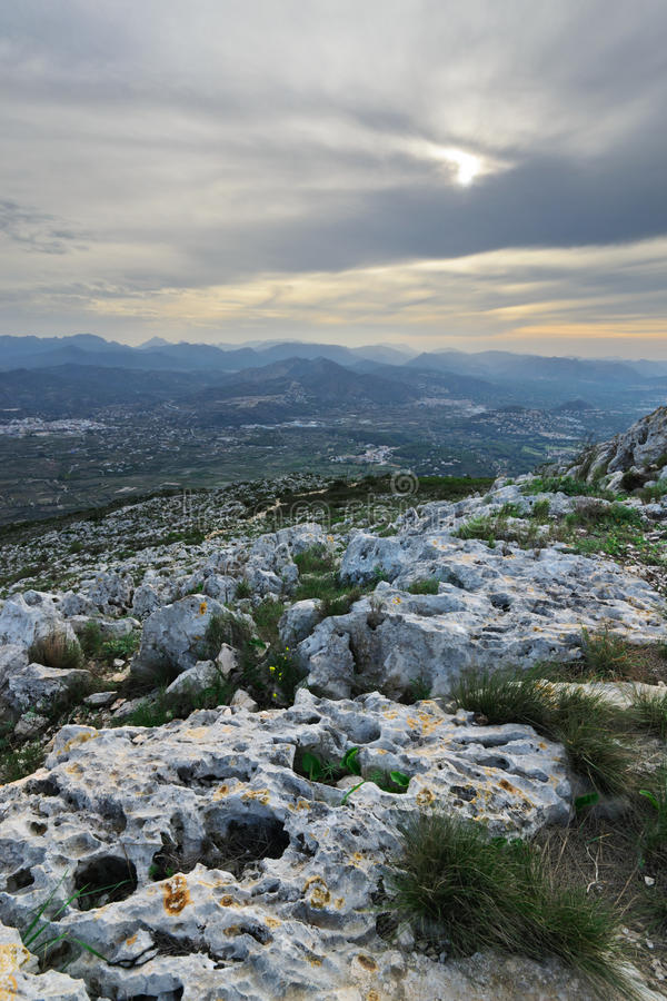 Stones of Montgo. View from the top of Mount Montgo, Denia, Spain stock photography