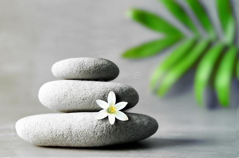 Stones pyramid with a white flower on grey background and leaf of palm.  stock images