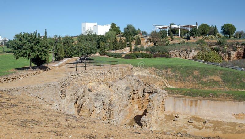 Stones remains of a Roman mausoleum stock images