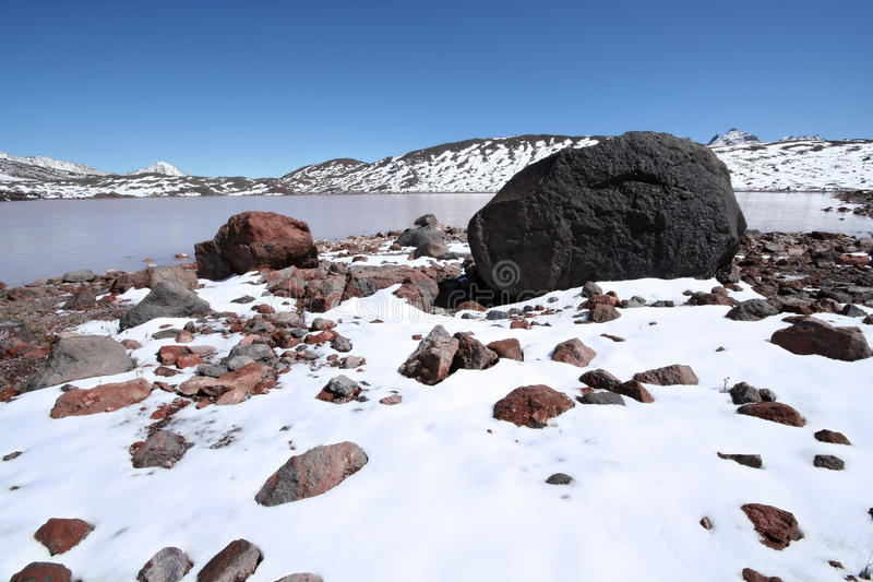 Download Stones, Rocks, Snow And Mountain Lake, Caucasus. Stock Photo - Image: 16530956