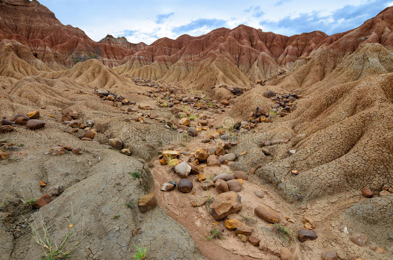 Stones in sand formations of Tatacoa desert royalty free stock photo