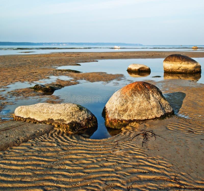 Stones on sea coast stock image