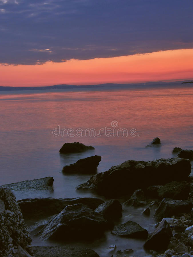 Stones And Sea In Sunset 1 Royalty Free Stock Image