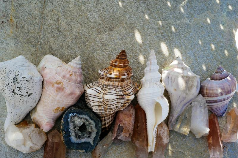 Reiki Beach Seashells And Crystals royalty free stock photo