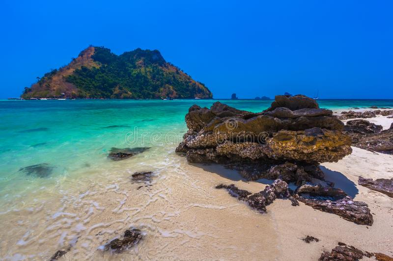 Stones with seashells on the shore of the Tup Island. Photo taken AO Nang Krabi, Thailand stock photos