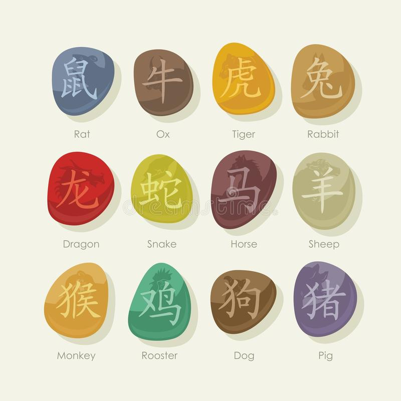 Stones set with Chinese zodiac signs stock illustration