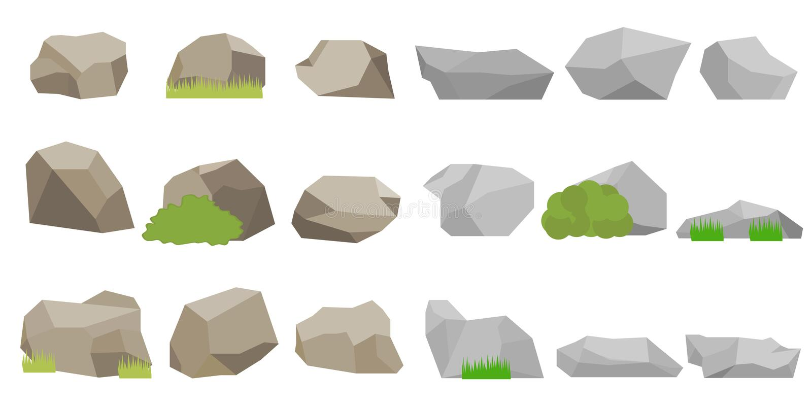 Stones, a set of stones. Flat design, vector illustration, vector royalty free illustration