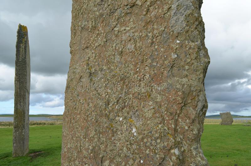 Standing Stones of Stenness, Neolithic megaliths in the island of Mainland Orkney, Scotland. The Stones of Stenness are five remaining megaliths of a henge, the stock photos