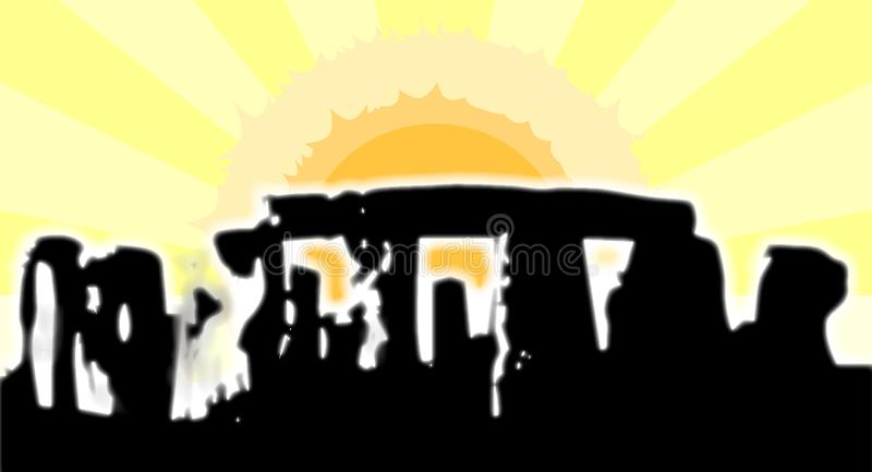 Stonehenge Solstice Glare. The stones of Stonehenge in England isolated on a morning sky and rising sun background royalty free illustration