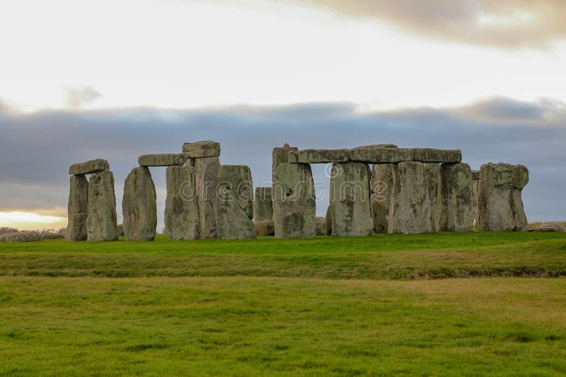 The stones of Stonehenge, a prehistoric monument in Wiltshire, England. UNESCO World Heritage. Ancient uk salisbury bc site old landscape grass tourism circle royalty free stock image