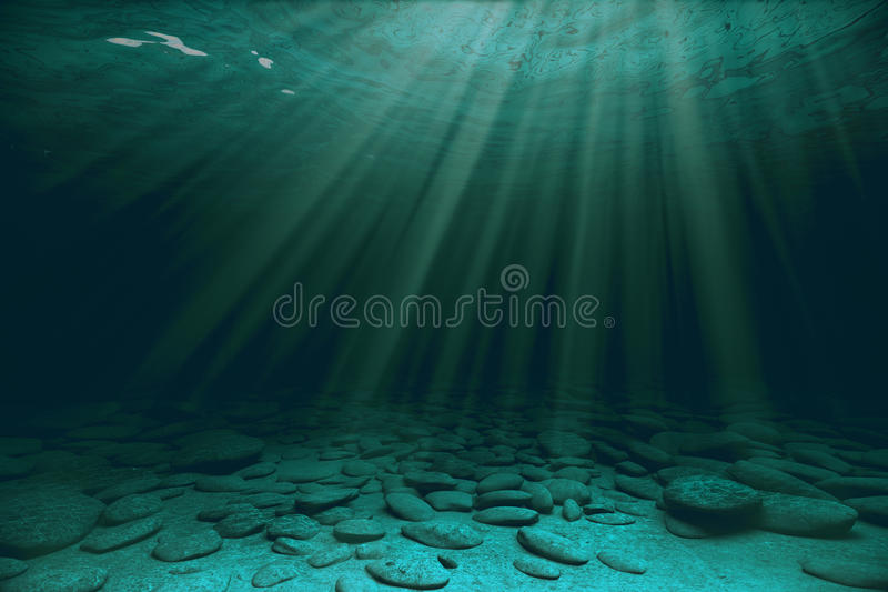 Stones and sunrays under water royalty free illustration