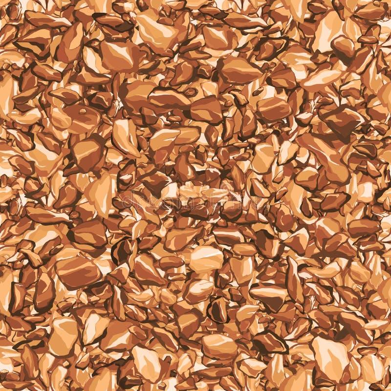 Seamless brown gravel stones texture pattern. On white background royalty free stock photos