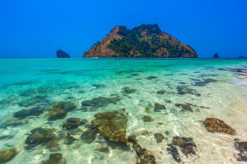 Stones in the transparent water of the Tup Island. AO Nang, Krabi, Thailand. Photo taken in the province of Krabi, Thailand stock photography